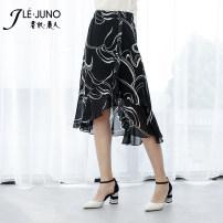 skirt Summer 2020 M,L,XL,2XL,3XL,4XL,5XL black and white Mid length dress Versatile High waist Irregular 30-34 years old