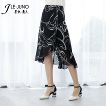 skirt Summer 2020 M,L,XL,2XL,3XL,4XL,5XL black and white Mid length dress Versatile High waist Irregular 30-34 years old