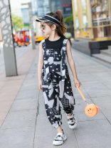 suit Other / other black 110cm,120cm,130cm,140cm,150cm,160cm female summer Korean version 2 pieces Thin money There are models in the real shooting Socket nothing other cotton children Expression of love Class B Cotton 95% other 5%
