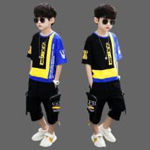 suit Other / other Blue, red, white, khaki 120cm,130cm,140cm,150cm,160cm,170cm male summer leisure time Short sleeve + pants 2 pieces routine There are models in the real shooting Socket nothing other Cotton blended fabric children Expression of love B9189 other Other 100%