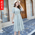 Dress Summer 2021 Light green white M L XL longuette singleton  Short sleeve commute V-neck High waist Solid color Socket A-line skirt routine 35-39 years old Type A Peel Korean version Three dimensional decoration with fold and tie PRFA1259WQ More than 95% Chiffon other Other 100%