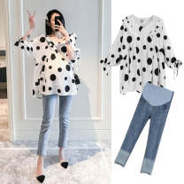 suit Other / other (single piece) Polka top, (single piece) jeans, Polka Top + jeans (set discount) M,L,XL,XXL Korean version spring and autumn routine Dot