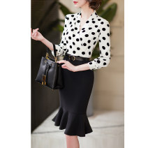 Dress Autumn 2020 S M L XL 2XL Mid length dress singleton  Long sleeves commute V-neck Dot routine Others 30-34 years old Dust face Korean version More than 95% polyester fiber Polyester 100% Pure e-commerce (online only)