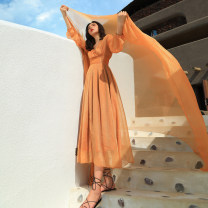 Dress Autumn of 2019 Champagne skirt, Cape, skirt + Cape S,M,L,XL longuette singleton  Long sleeves Sweet V-neck Elastic waist Solid color Socket Big swing bishop sleeve Others 25-29 years old Type A Other / other Bohemia