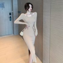Dress Autumn 2020 Khaki, black S,M,L Mid length dress singleton  Long sleeves commute High waist Irregular skirt 18-24 years old Korean version