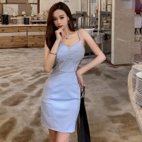 Dress Winter 2020 Blue, black S, M Short skirt singleton  Sleeveless commute V-neck High waist Solid color Socket One pace skirt camisole 18-24 years old Other / other Korean version rivet 81% (inclusive) - 90% (inclusive) knitting nylon