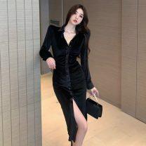 Dress Winter 2020 black S,M,L Mid length dress singleton  Long sleeves commute V-neck High waist Irregular skirt 18-24 years old Korean version