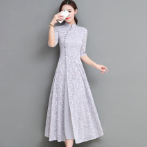 cheongsam Spring 2021 S,M,L,XL,2XL,3XL Gray, red, green, caramel, pink Long sleeves long cheongsam ethnic style Low slit daily Oblique lapel Solid color 25-35 years old Nail bead Other / other Cellulose acetate 51% (inclusive) - 70% (inclusive)