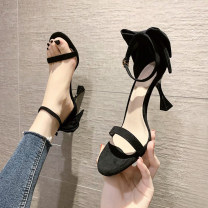Sandals 34,35,36,37,38,39 Black, apricot Suede Other / other Barefoot Fine heel High heel (5-8cm) Summer 2021 Flat buckle Korean version Solid color Adhesive shoes Youth (18-40 years old) rubber daily Bag heel Bowknot, waterproof platform Low Gang Hollow PU PU Fashion sandals Shaving