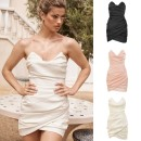 Dress Spring 2020 Black, pink, white XS,S,M,L,XL Short skirt singleton  Sleeveless commute High waist Solid color zipper One pace skirt Breast wrapping 18-24 years old Type X house of cb Pleat, pleat RUCHED MINI DRESS More than 95% Silk and satin Cellulose acetate