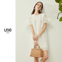 Dress Summer of 2018 White Nicolas blue S M L XL Mid length dress singleton  Short sleeve street Crew neck middle-waisted other other other other Others 25-29 years old Type H U.S.E Lace UH2L0093 More than 95% polyester fiber Polyester 100% Pure e-commerce (online only) Europe and America
