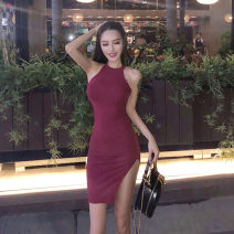 Dress Summer of 2019 Khaki, Burgundy, black S,M,L Short skirt singleton  Sleeveless commute High waist Solid color Socket Pencil skirt Hanging neck style 18-24 years old Other / other Korean version 31% (inclusive) - 50% (inclusive) brocade cotton