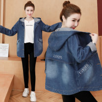 short coat Autumn of 2019 Long sleeves routine routine singleton  easy commute routine Hood Single breasted letter 18-24 years old Other / other 81% (inclusive) - 90% (inclusive) Embroidery, pockets, buttons other cotton