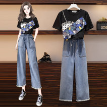 Women's large Summer 2021 Single black top, single white top, single jeans, black top + jeans, white top + jeans Large L, large XL, 2XL, 3XL, 4XL Other oversize styles Two piece set commute easy moderate Socket Short sleeve Solid color, plant and flower Korean version Crew neck routine polyester