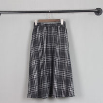skirt Spring 2021 Average size Gray grid longuette commute High waist A-line skirt lattice Type A 25-29 years old 31% (inclusive) - 50% (inclusive) other stalk of Chinese cabbage cotton Pockets, stitching literature 201g / m ^ 2 (including) - 250G / m ^ 2 (including)