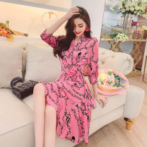 Dress Spring 2021 Black, pink S,M,L Short skirt singleton  three quarter sleeve commute V-neck High waist Decor Socket One pace skirt routine Others 30-34 years old Type A MISS FLY PERSONAL TAILOR Korean version Print, bandage L216001 31% (inclusive) - 50% (inclusive) other other