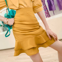 skirt Summer 2021 S,M,L,XL Yellow, white Short skirt commute High waist skirt Decor Type H 30-34 years old Q217515 31% (inclusive) - 50% (inclusive) other MISS FLY PERSONAL TAILOR other Ruffles, folds, zippers Korean version