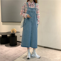 Dress Autumn 2020 blue S,M,L,XL,2XL,3XL,4XL longuette singleton  Sleeveless commute other High waist Solid color Socket other other straps 18-24 years old Type A Other / other Korean version pocket