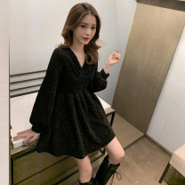 Dress Autumn 2020 black Mid length dress singleton  Long sleeves commute V-neck High waist Solid color Socket A-line skirt routine Type A Other / other Korean version 30% and below other
