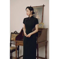 cheongsam Spring 2021 S,XL,L,M,XXL,XXXL black Short sleeve long cheongsam Retro High slit Round lapel 25-35 years old Yue Tang other 31% (inclusive) - 50% (inclusive)