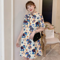 cheongsam Summer 2020 XL,L,M,XXL,XXXL,4XL Little elephant Short sleeve long cheongsam 18-25 years old