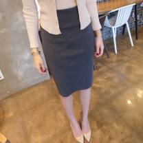 skirt Spring 2020 S. M, l, XL, 2XL, custom size Dark grey, black, light grey Middle-skirt commute High waist skirt Solid color Type H 25-29 years old q27 other cotton Korean version 201g / m ^ 2 (including) - 250G / m ^ 2 (including)