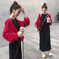 Dress M,L,XL,XXL Korean version Long sleeves Medium length spring Lapel Solid color Blended cotton