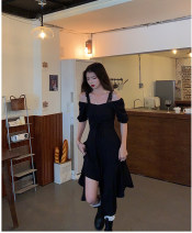 Dress Summer 2021 Black, stock order XS,S,M,L,XL Mid length dress singleton  Short sleeve commute square neck High waist Solid color zipper A-line skirt routine 18-24 years old Type A Korean version other polyester fiber