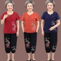 Middle aged and old women's wear Summer of 2019 XL [recommended below 100 kg], 2XL [recommended 100-115 kg], 3XL [recommended 115-130 kg], 4XL [recommended 130-145 kg], 5XL [recommended 145-160 kg] fashion suit easy Two piece set Over 60 years old Socket thick Crew neck routine Cotton, hemp, others