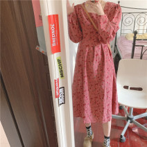 Dress Spring 2021 Pink Average size Mid length dress singleton  Long sleeves Sweet square neck High waist other routine 18-24 years old Type H