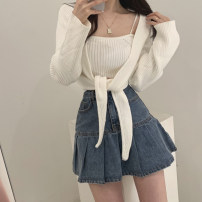 skirt Spring 2021 S,M,L blue Short skirt commute High waist Pleated skirt Solid color Type A 18-24 years old 30% and below Denim Other / other cotton Korean version