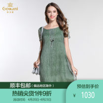 Dress Summer 2017 green S M L XL XXL Mid length dress singleton  Short sleeve commute Crew neck middle-waisted Solid color Socket One pace skirt routine Others 35-39 years old Type H Gowani / Giovanni Simplicity E172E336403 More than 95% silk Mulberry silk 100%
