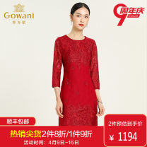 Dress Autumn of 2019 gules S M L XL XXL Mid length dress singleton  three quarter sleeve commute Crew neck middle-waisted Solid color zipper A-line skirt routine Others 40-49 years old Type H Gowani / Giovanni Simplicity Lace More than 95% nylon Polyamide fiber (nylon) 100%