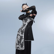 Dress Summer 2021 black S M L Mid length dress singleton  Long sleeves commute stand collar High waist Big flower Socket Irregular skirt puff sleeve Others 18-24 years old Type H UEOO Retro Asymmetric embroidery 81% (inclusive) - 90% (inclusive) nylon