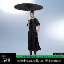 Dress Summer 2021 black S M L Mid length dress singleton  Short sleeve tailored collar High waist Big flower Socket A-line skirt Lotus leaf sleeve 18-24 years old Type A UEOO Lotus leaf edge B21214010 More than 95% polyester fiber Polyester 100%