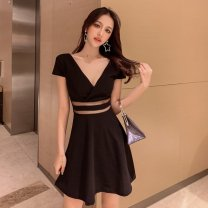 Dress Summer 2020 White, black S,M,L Short skirt singleton  Short sleeve commute V-neck High waist Solid color A-line skirt Other / other Korean version Splicing, mesh