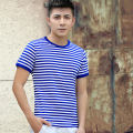 T-shirt Youth fashion routine Auris Short sleeve Crew neck Self cultivation daily summer Couples dress routine Chinese style Cotton wool 2018 stripe Rib decoration cotton Sea soul Fashion brand 90% (inclusive) - 95% (inclusive)
