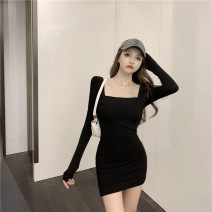 Dress Winter 2020 Grey, black, grey plush, black plush Average size Short skirt singleton  Long sleeves commute One word collar High waist Solid color Socket One pace skirt routine camisole 18-24 years old Korean version backless More than 95% polyester fiber