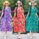 Dress Summer of 2019 Purple, red, green M suggests 100-115 kg, l 116-130 kg, XL 131-145 kg, XXL 146-160 kg Mid length dress singleton  Short sleeve commute V-neck Loose waist Decor Socket A-line skirt routine Others Type A ethnic style Pocket, 3D, print Printed leaf V-neck A-line skirt