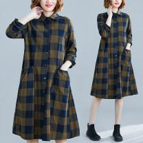 shirt Summer 2020 hemp 31% (inclusive) - 50% (inclusive) Long sleeves Versatile Medium length Polo collar Single row multi button routine lattice High waist type