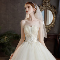 Wedding dress Winter 2020 Qidi wedding dress without accessories, Qidi wedding dress with three sets, Qidi wedding dress with eight sets S. M, l, XL, XXL, customized size does not support return Korean version Fluffy skirt Bandage Hotel Interior Chest type Three dimensional cutting C41 middle-waisted