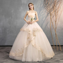 Wedding dress Autumn of 2019 Qidi wedding dress without accessories, Qidi wedding dress with three sets, Qidi wedding dress with eight sets XXL, s, m, l, XL, customized, do not support return Korean version Bandage Hotel Interior Chest type Three dimensional cutting D272 middle-waisted