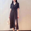 Dress Summer 2021 Black, Decor 2 = s, 3 = m, 4 = L, 5 = XL Mid length dress singleton  Short sleeve commute V-neck High waist Dot Socket Big swing routine Others 25-29 years old Type A Novel goldette lady Ruffles, folds, buttons 1500326-1S14911-001 More than 95% Chiffon other