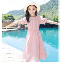 Dress female Other / other Other 100% summer princess Short sleeve Solid color cotton A-line skirt 2, 3, 4, 5, 6, 7, 8, 9, 10, 11, 12, 13, 14 years old