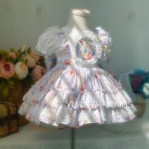 Dress female Other / other Cotton 100% summer princess Short sleeve cotton Cake skirt 12 months, 18 months, 2 years old, 3 years old, 4 years old, 5 years old, 6 years old