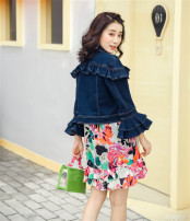 short coat Spring 2020 S. M, l, XL in stock for 105-125 Denim blue picture color Nine point sleeve have cash less than that is registered in the accounts routine singleton  High waist type Sweet Lotus leaf sleeve square neck 96% and above Lotus leaf edge cotton