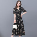 Dress Summer 2021 black S,M,L,XL,2XL,3XL,4XL,5XL Mid length dress singleton  Short sleeve commute V-neck middle-waisted Decor Socket A-line skirt pagoda sleeve Others 30-34 years old Type A Other / other Korean version printing 31% (inclusive) - 50% (inclusive) Chiffon polyester fiber