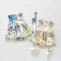 Jumpsuit / climbing suit / Khaki Other / other other female Pink and green floral dress, purple and blue floral dress 66cm,73cm,80cm,90cm,100cm cotton summer Sleeveless Trigonometry princess Socket one-piece garment Freshmen, 3 months, 6 months, 12 months, 18 months, 9 months