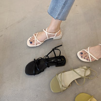Sandals 35,36,37,38,39 Black, yellow, green, off white PU The south is in the south Barefoot Thick heel Low heel (1-3cm) Summer 2021 Flat buckle solar system Solid color Adhesive shoes Youth (18-40 years old) Composite bottom daily Thin strap combination, buckle, thick heel PU PU Flat buckle