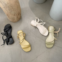 Sandals 35,36,37,38,39 Black, off white, yellow, green PU The south is in the south Square head Thick heel Middle heel (3-5cm) Summer 2021 Flat buckle Korean version Solid color Adhesive shoes Youth (18-40 years old) Composite bottom daily Thick heel PU PU Flat buckle